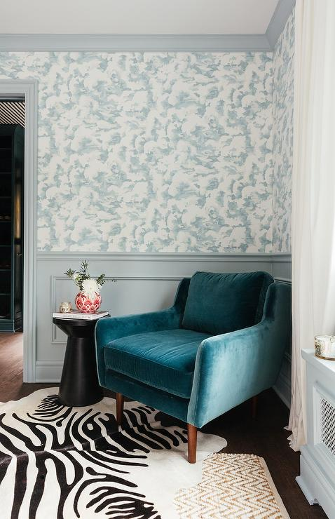 Brilliant Blue Velvet Accent Chair On Zebra Cowhide Rug Transitional Caraccident5 Cool Chair Designs And Ideas Caraccident5Info