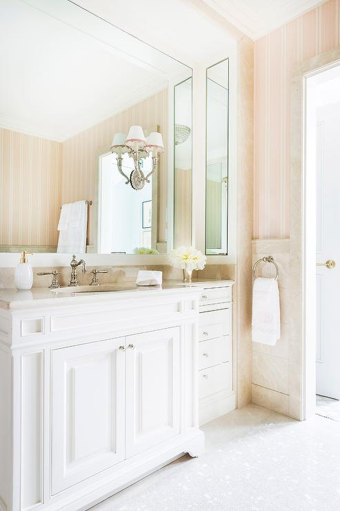 Pink Stripe Wallpaper In White And Gold Bathroom