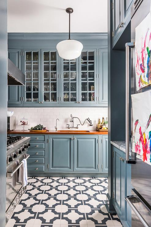 Blue Cabinets With Stained Wood Countertops Transitional Kitchen