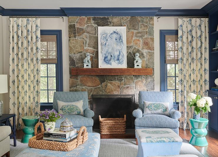 Rustic Stone Fireplace With Light Blue Foo Dog Lamps Cottage