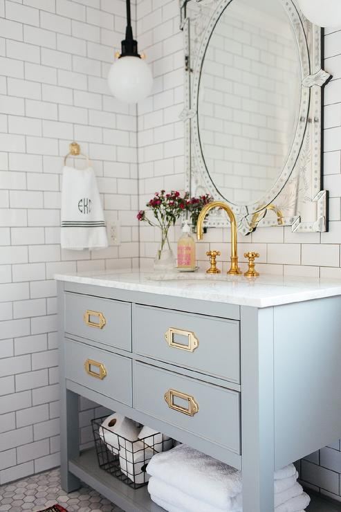Gold Gooseneck Faucet With Light Gray Wood Bath Vanity Transitional Bathroom Benjamin Moore Decorators White