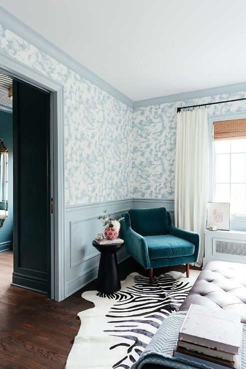 . Ikea Ritva Curtain Panels with Peacock Blue Velvet Chair