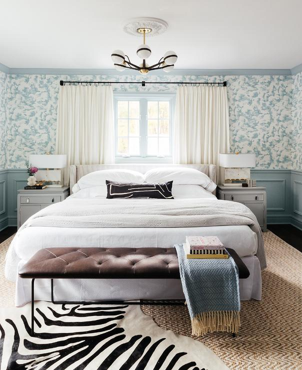 Awesome Gray Pinstripe Bed With Brown Velvet Tufted Bench Andrewgaddart Wooden Chair Designs For Living Room Andrewgaddartcom