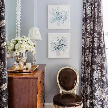 Smoky Blue Bedroom Walls Design Ideas