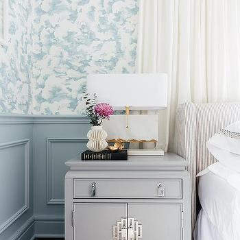 Light Gray Wainscoting In Master Bedroom Transitional