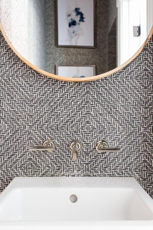 Powder Room With Black And White Wallpaper And Round Gold