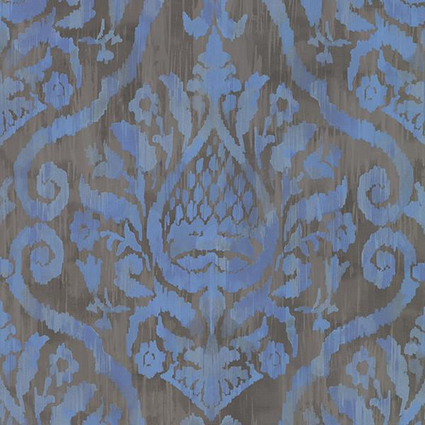 Mayfair Light Blue Cotton Damask Curtains