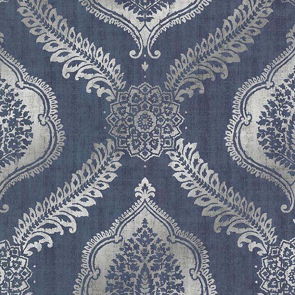 Lattice Flocked Foil Wallpaper