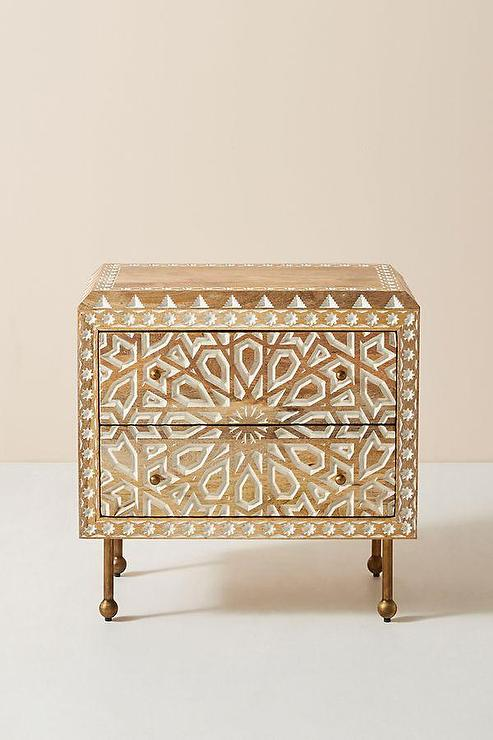 green and ivory charlotte bedside table