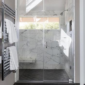 Gray Slate Herringbone Floor With Gray Kitchen Island