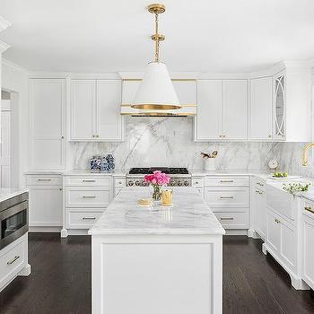 White Paneled Fridge With Gold Handles Design Ideas