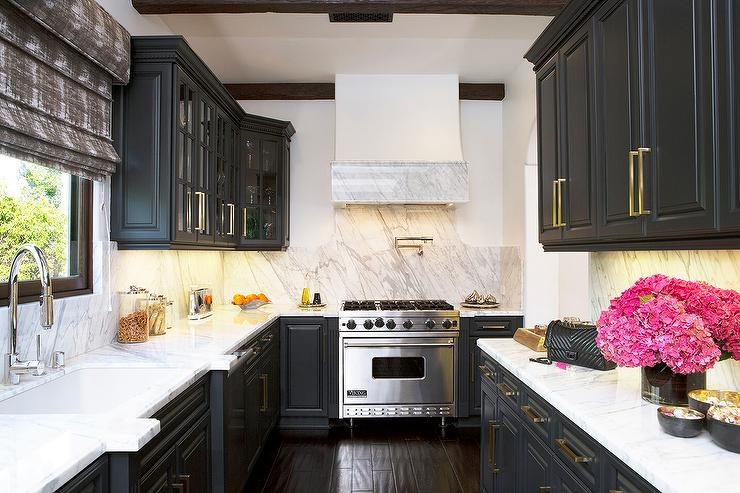 Black Kitchen Cabinets with Viking Range - Contemporary ...