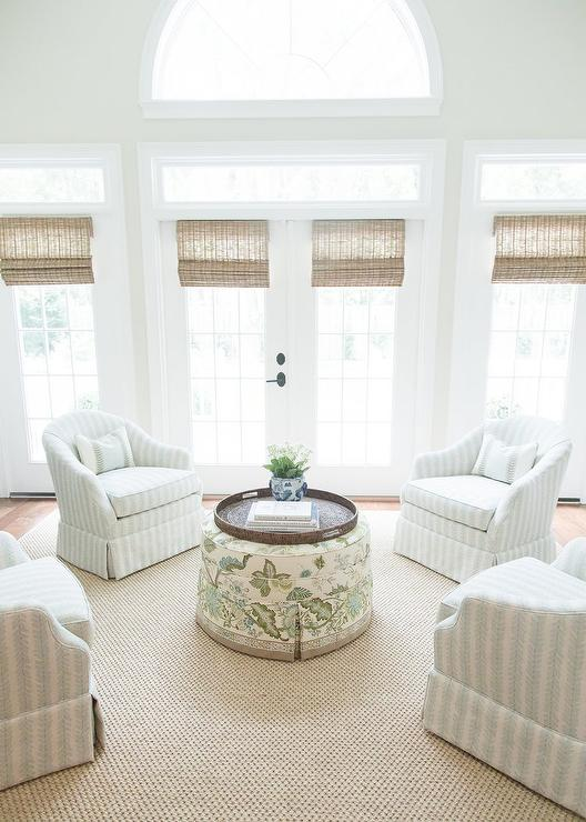 Floral Accent Chairs.White And Blue Floral Accent Chairs In Circular Formation Cottage