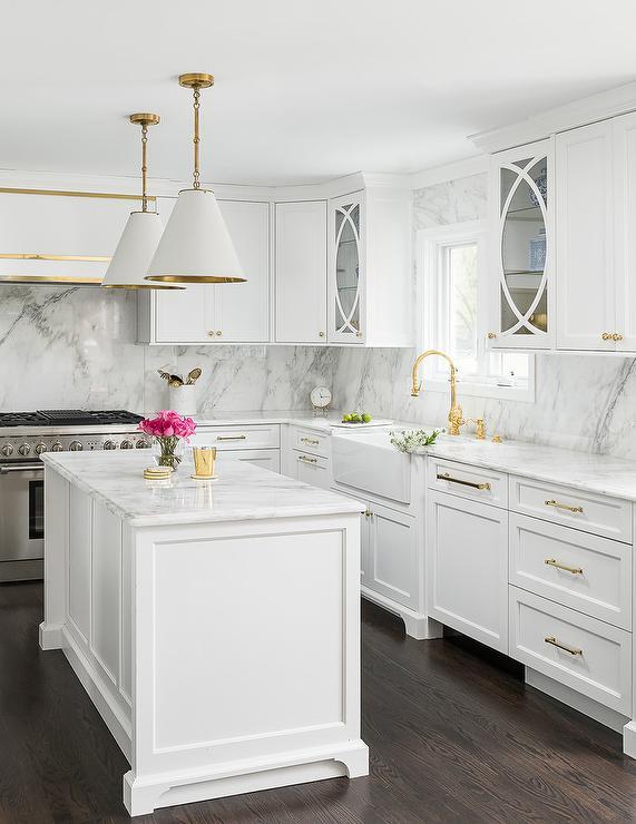 Gold Kitchen With Narrow Island, Narrow White Kitchen Cabinet