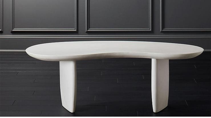 Remarkable Jelly Bean Curved Ivory Cement Coffee Table Inzonedesignstudio Interior Chair Design Inzonedesignstudiocom