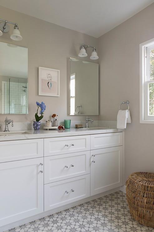Gray Bathroom With Gray Cement Starburst Tile Floor