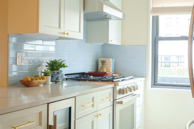 Sky Blue Subway Tiles With White Shaker Cabinets Transitional Kitchen