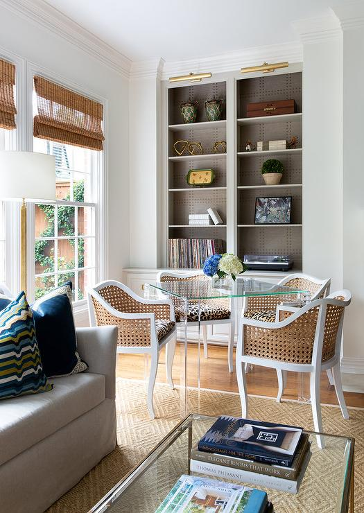 Vintage Cane Chairs at Square Lucite Game Table - Transitional