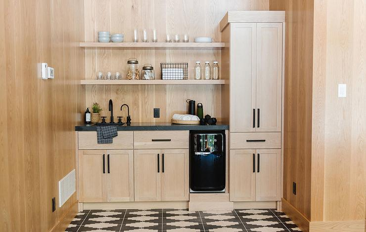 Pale Oak Pantry Cabinets with Ivory and Black Geometric ...