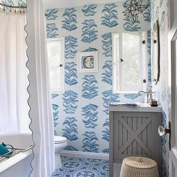 Blue Bathroom With Gray Washstand