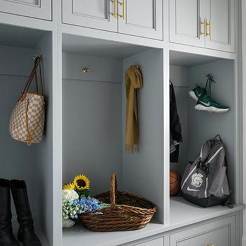 Light Gray Mudroom Cabinets with Open Lockers