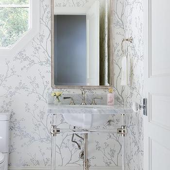 Silver Bathroom Wallpaper Design Ideas, Wallpaper For Bathroom Walls