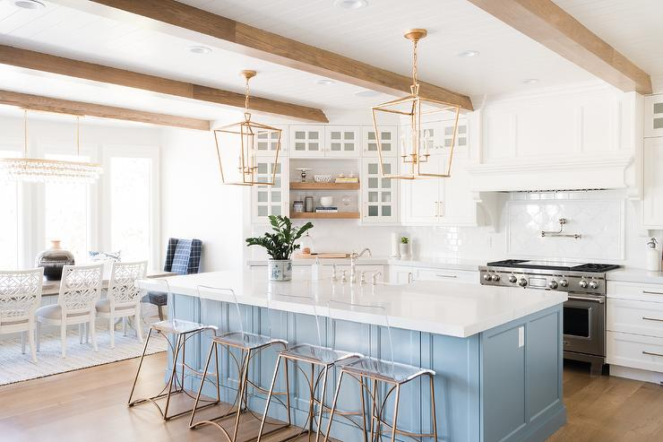 Sky Blue Kitchen Island With Antique Brass Lanterns