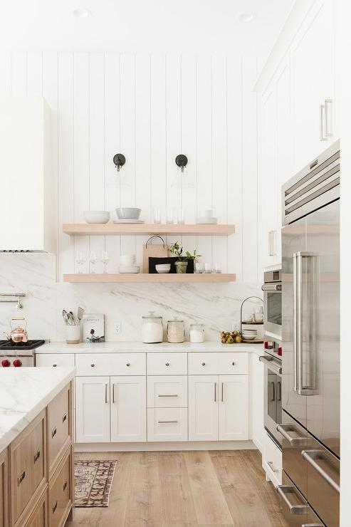 Blond Floating Shelves On Vertical Shiplap Wall Transitional Kitchen