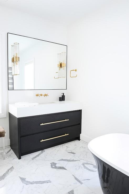White Countertop on Black Bath Vanity   Contemporary   Bathroom