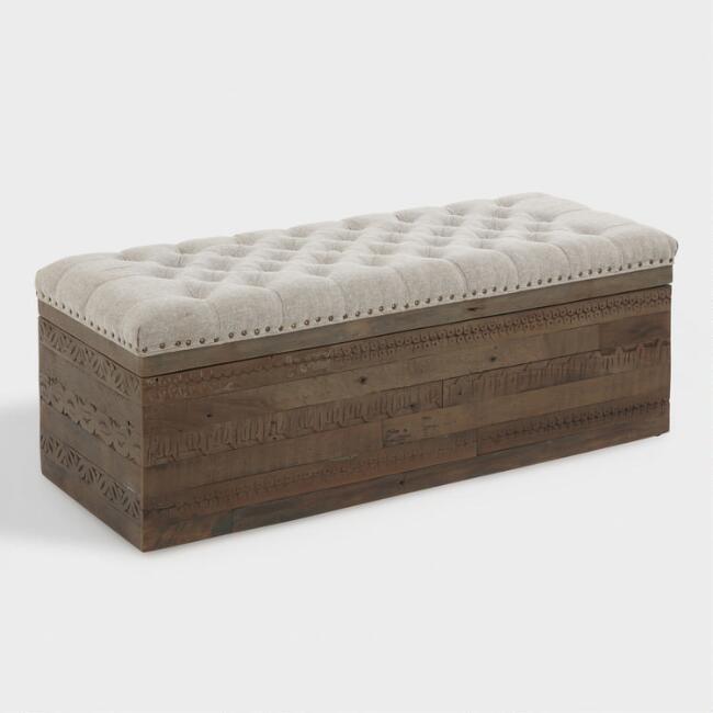 Wondrous Lemoor Mid Century Gray Tufted Storage Ottoman Spiritservingveterans Wood Chair Design Ideas Spiritservingveteransorg