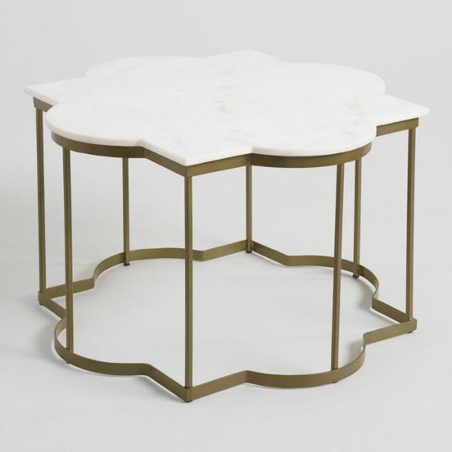 White Marble Arabesque Side Table: Nuevo Versailles Gold Coffee Table