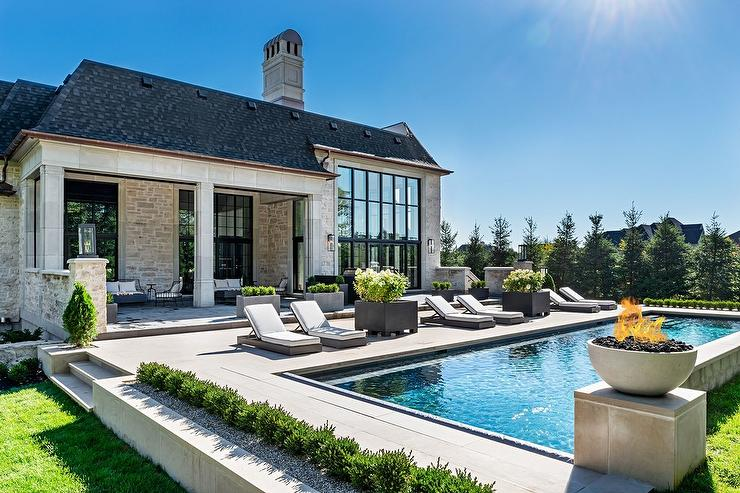 French Style Home With In Ground Pool Transitional Pool