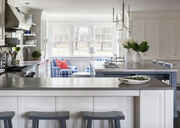 L Shaped Kitchen with Blue Island - Transitional - Kitchen