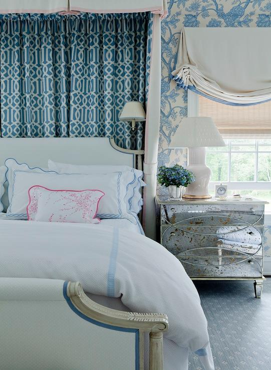 Blue Trellis Curtains Behind White and Blue French Bed ...