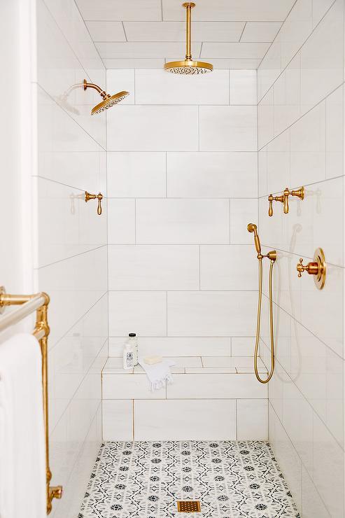 White And Gray Quatrefoil Shower Floor Tiles