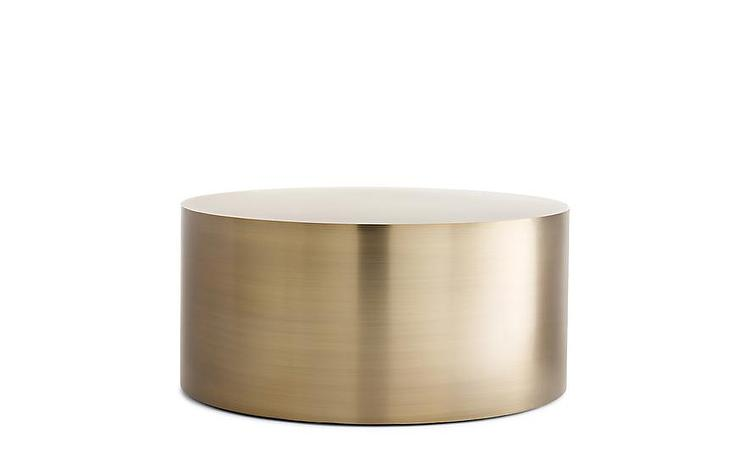 Round Burnished Brass Drum Coffee Table