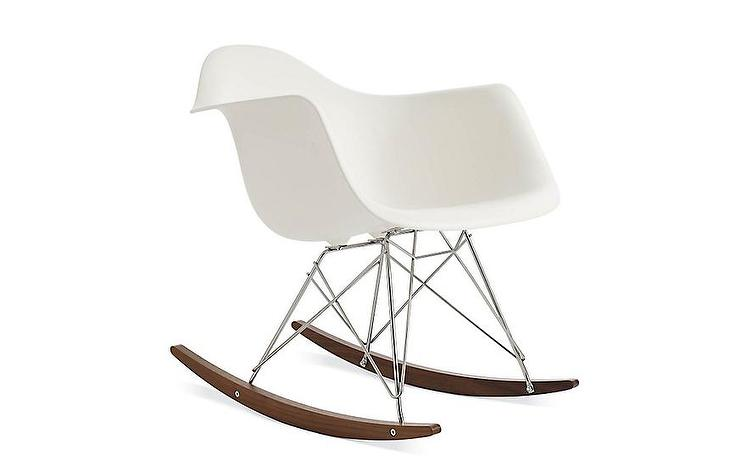 Eames White Molded Plastic Armchair Rocker