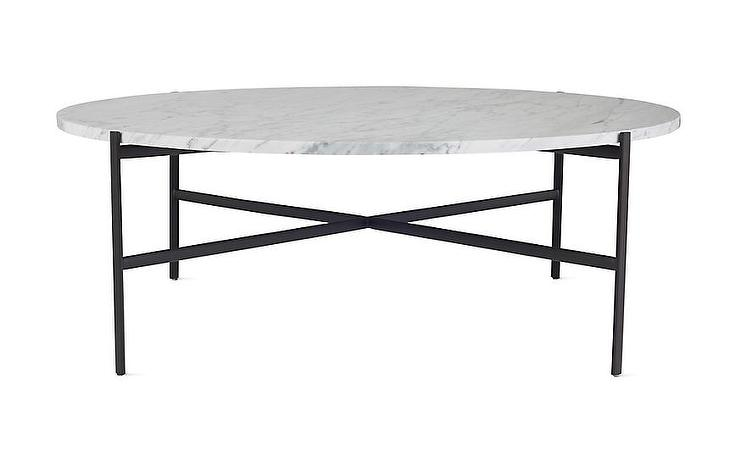 Sylvain Outline Round Marble Black Steel Coffee Table