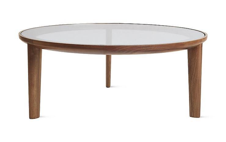 Port Round Walnut Glass Tripod Coffee Table