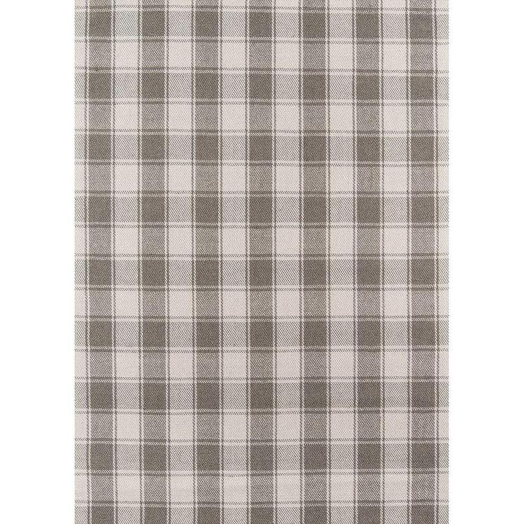 Charles Gray Checkered Pattern Wool Area Rug