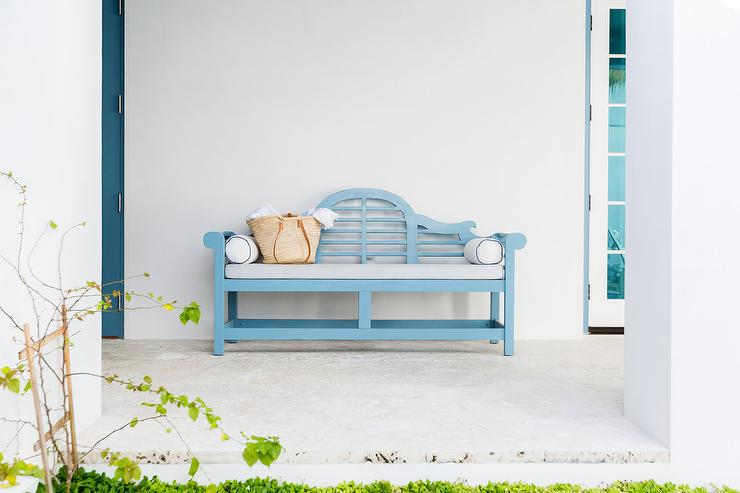 Blue Bench With Light Gray Cushion Cottage Deck Patio