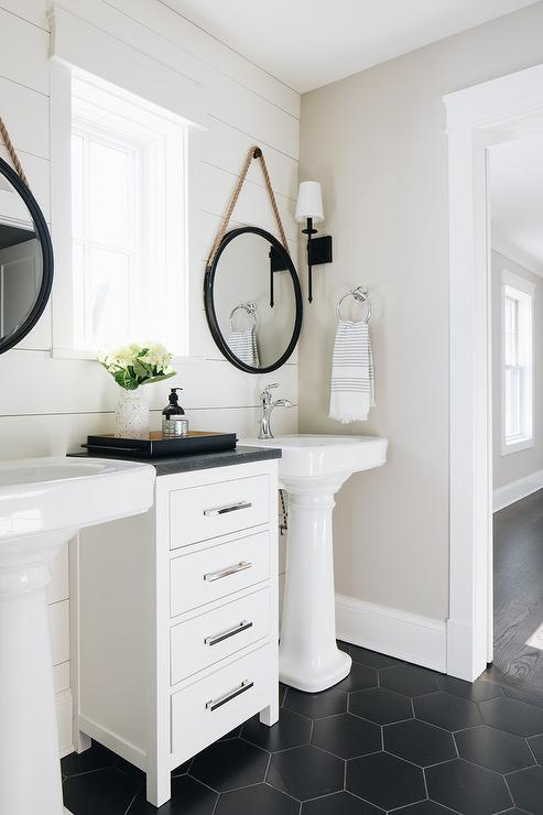 Rope Hanging Mirror With Pedestal Sink Cottage Bathroom