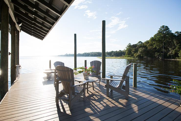 Lake House Deck with Adirondack Chairs - Cottage - Deck/patio