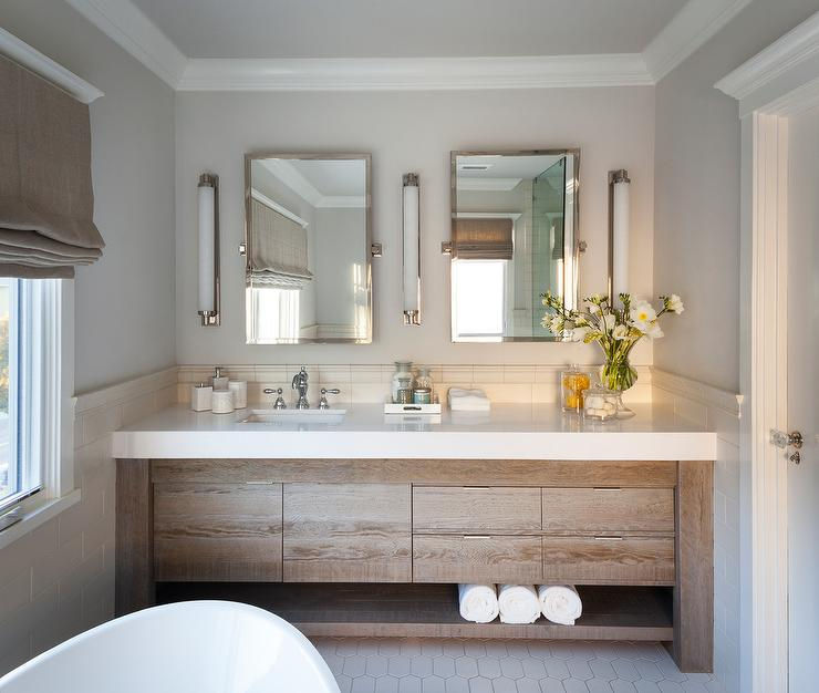 Salvaged Wood Bath Vanity With White Quartz Countertop Transitional Bathroom