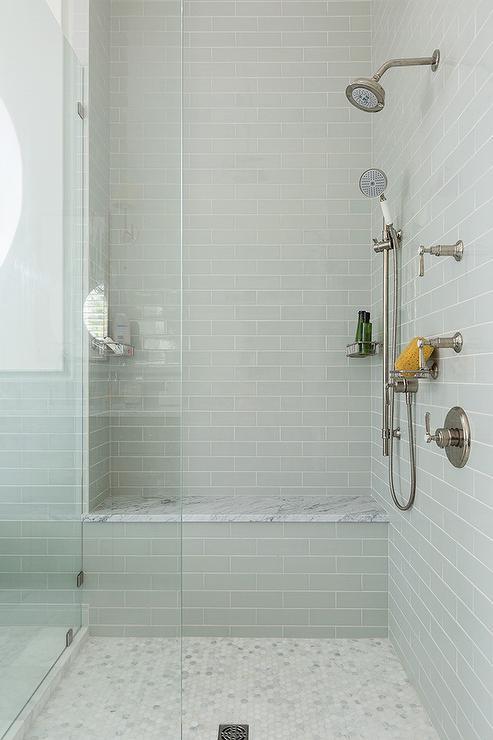 Gray Glass Subway Shower Tiles, Glass Subway Tile Bathroom