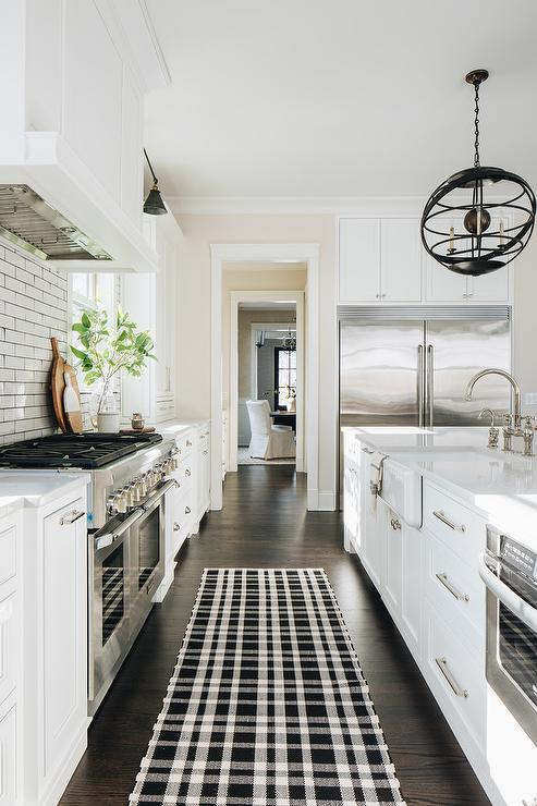 Black Plaid Kitchen Runner Transitional Bathroom