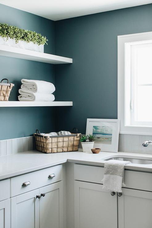 White Floating Shelves On Blue Laundry Room Walls Transitional Laundry Room
