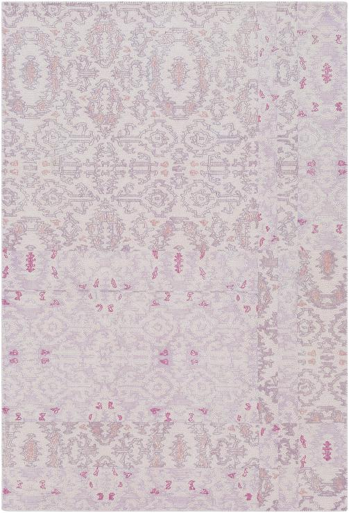 Deandra Pink Ornate Pattern Tufted Wool Rug