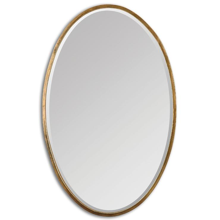 Merci Oval Gold Antique Brass Beveled Mirror