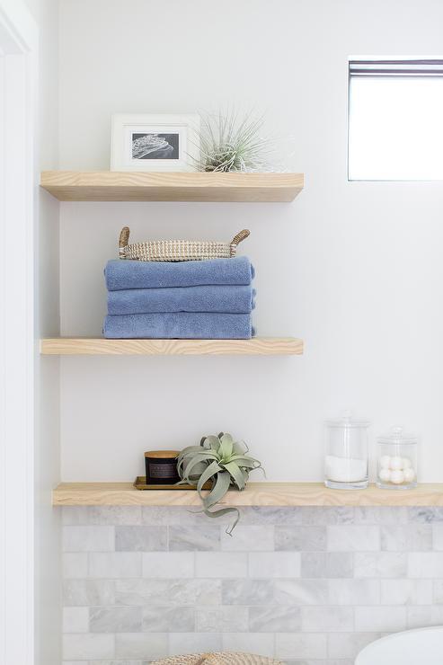 Oak Wooden Floating Bath Wall Shelves - Cottage - Bathroom